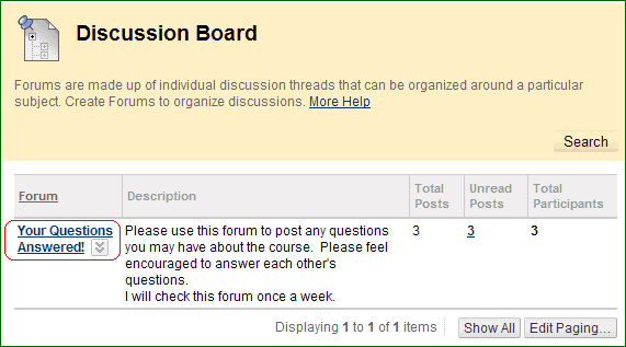 BB Discussions 1, screenshot of BlackBoard discussion board