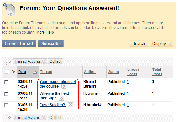 BB Discussions 2, screenshot of BlackBoard discussion board
