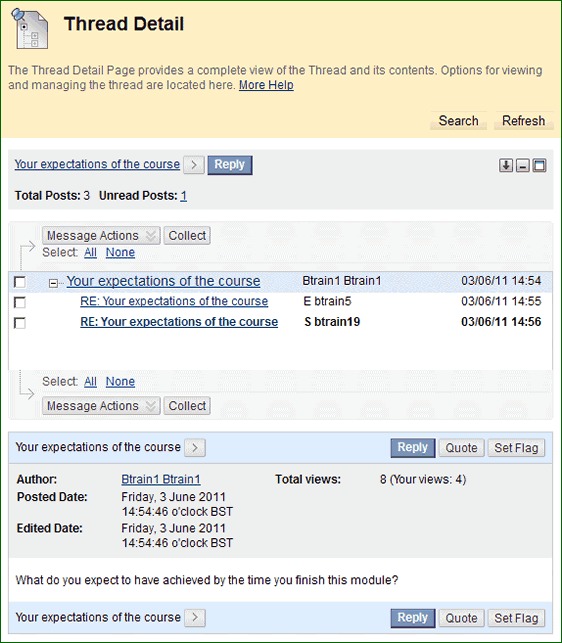 BB Discussions 3, screenshot of BlackBoard thread detal page