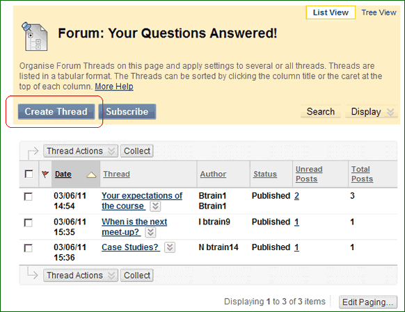 BB Discussions 5, screenshot of BlackBoard discussion board
