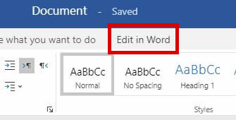onedrive-18-02, microsoft word support - highlighted 'edit in word' button