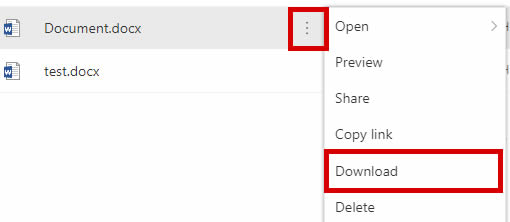 onedrive-18-03, onedrive support - highlighted 'download document' button