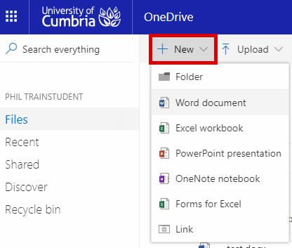 onedrive-18-05, onedrive support - highlighted 'new' button